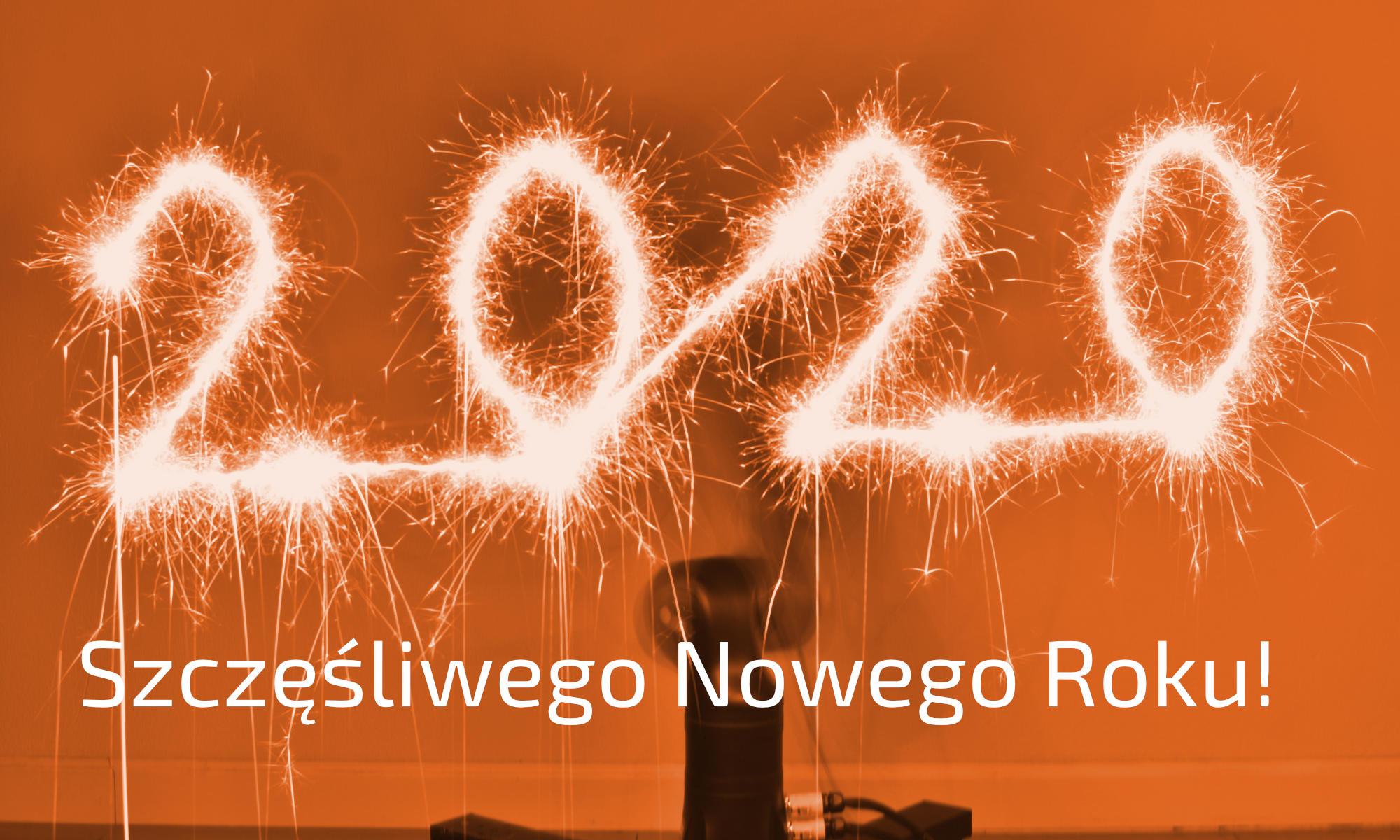 banner | blog | szczęśliwego nowego roku! | robot pisze zimnym ogniem: 2020,