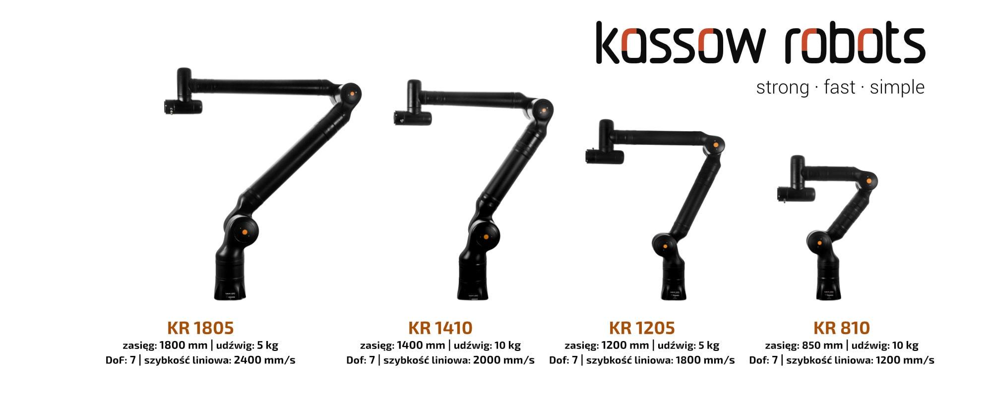 Banner - Kassow Robots | fast - stron - simple | rodzina czterech siedmiosiwych robotów współpracujących